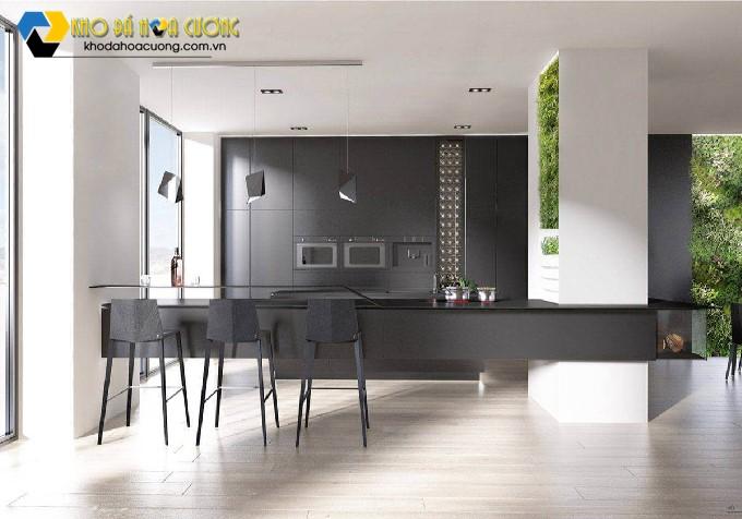 không gian nhà bếp trang trí đẹp với đá hoa cương